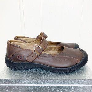 Keen Brown Oiled Leather MaryJane Walking Comfort